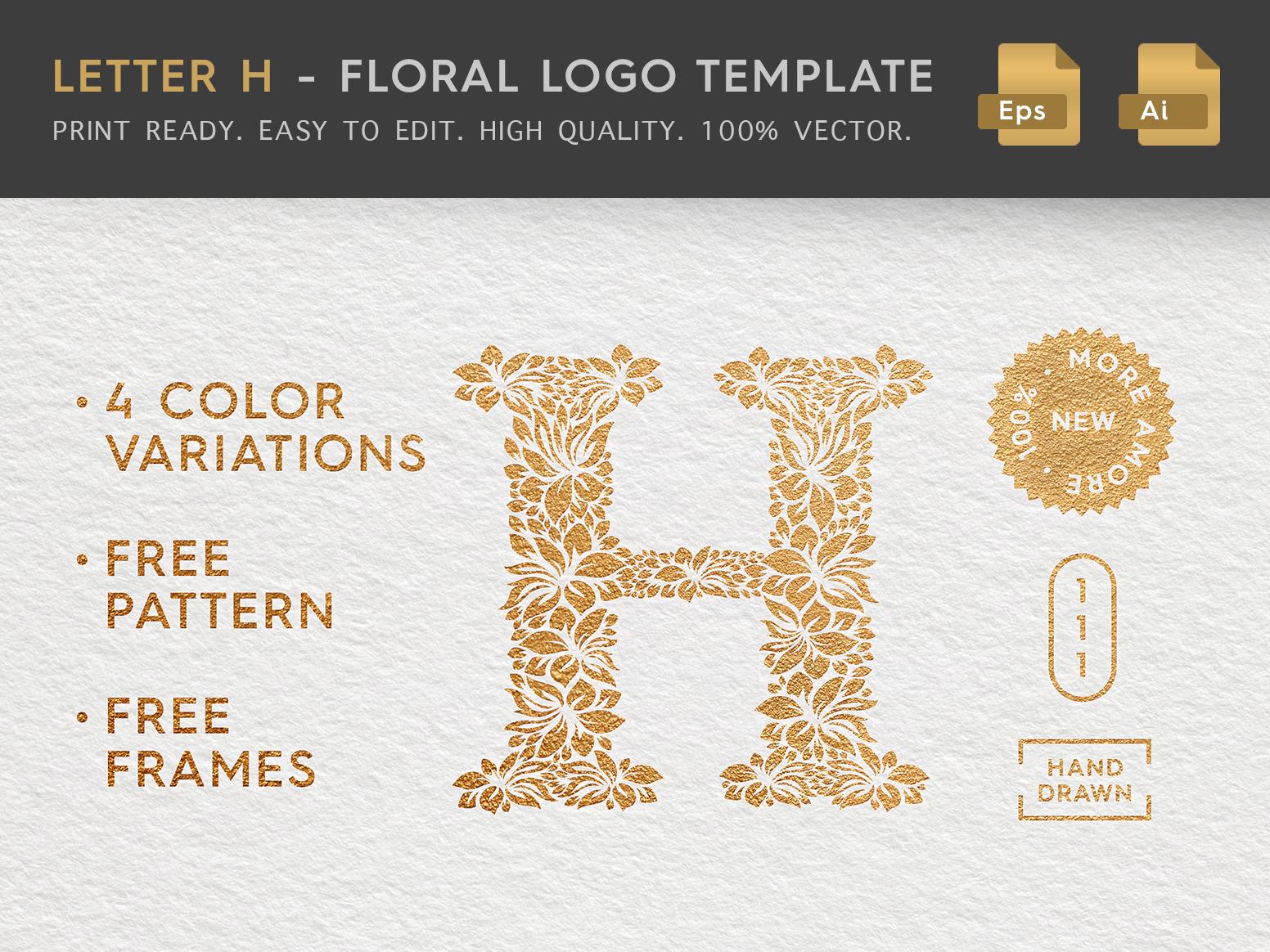 Floral letter h logo behance header