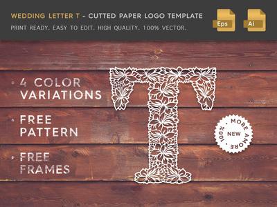 Wedding Letter T Cutter Paper Logo Template