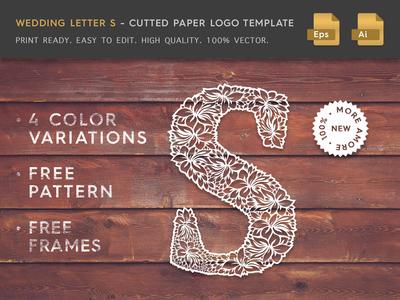 Wedding Letter S Cutter Paper Logo Template