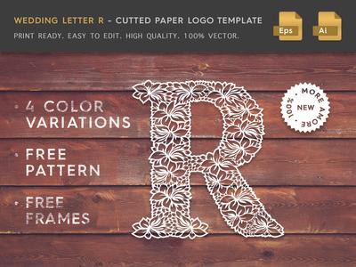 Wedding Letter R Cutter Paper Logo