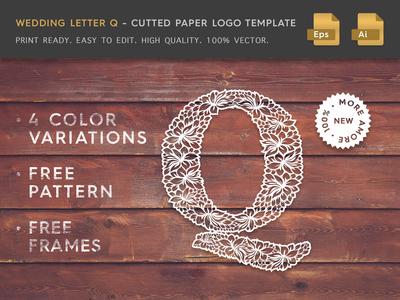 Wedding Letter Q Cutter Paper Logo Template