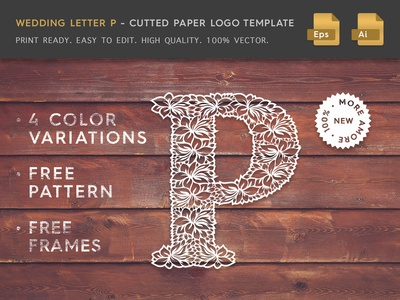 Wedding Letter P Cutter Paper Logo Template