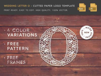 Wedding Letter O Cutter Paper Logo Template