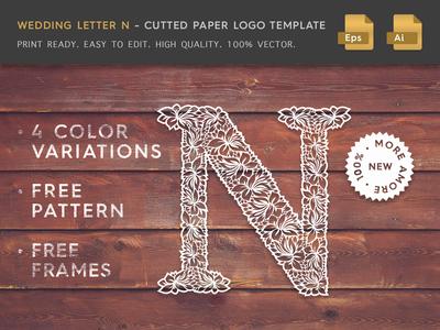 Wedding Letter N Cutter Paper Logo Template