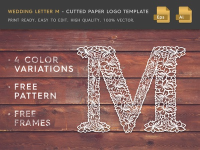 Wedding Letter M Cutter Paper Logo Template
