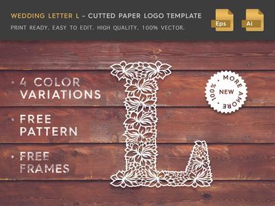 Wedding Letter L Cutter Paper Logo Template