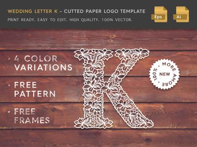 Wedding Letter K Cutter Paper Logo Template