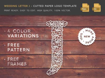 Wedding Letter J Cutter Paper Logo Template