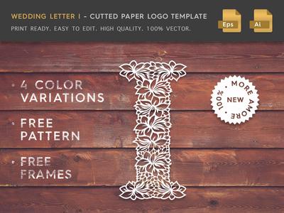 Wedding Letter I Cutter Paper Logo Template