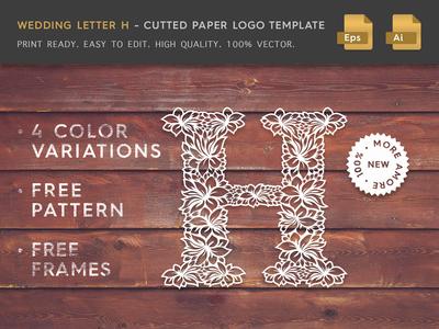 Wedding Letter H Cutter Paper Logo Template