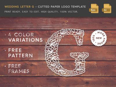 Wedding Letter G Cutter Paper Logo Template