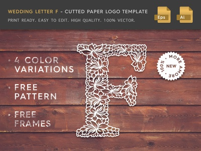 Wedding Letter F Cutter Paper Logo Template