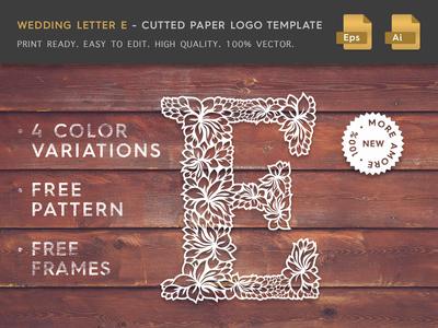 Wedding Letter E Cutter Paper Logo Template