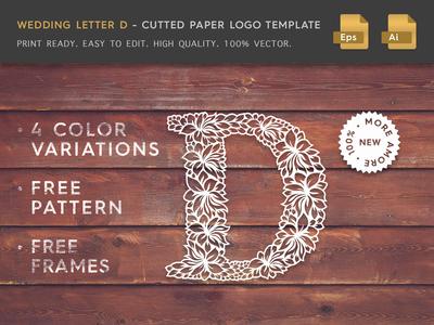 Wedding Letter D Cutter Paper Logo Template