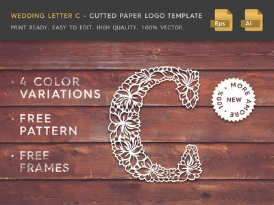 Wedding Letter C Cutter Paper Logo Template