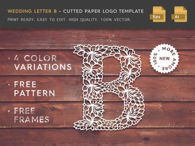Wedding Letter B Cutter Paper Logo Template