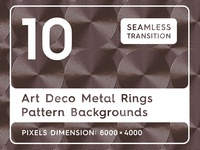 10 Art Deco Metal Rings Pattern Backgrounds