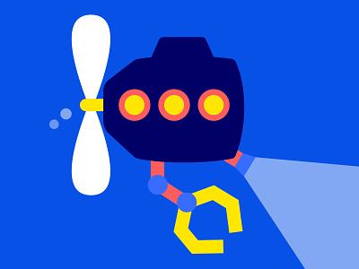 Submarine design illistration 2d art game assets game art game development game app submarine