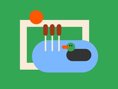 Pond Icon vector minimal flat design colour bold illustration