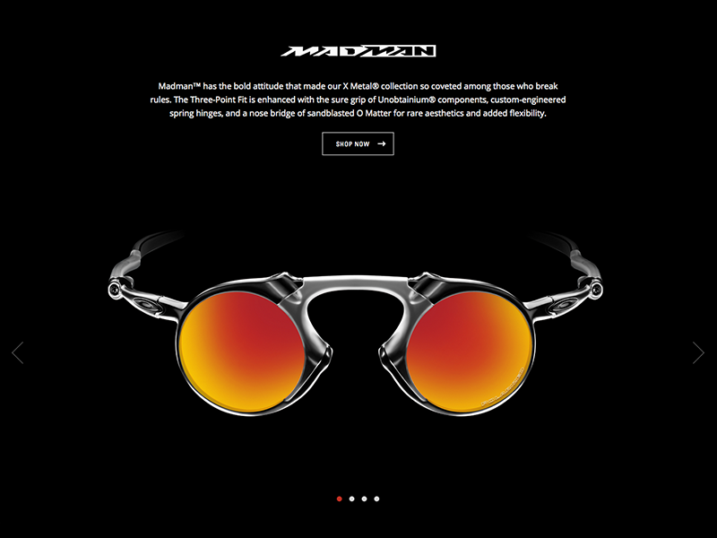 The X Metal Collection ui single page carousel craft craftcms glasses eyewear