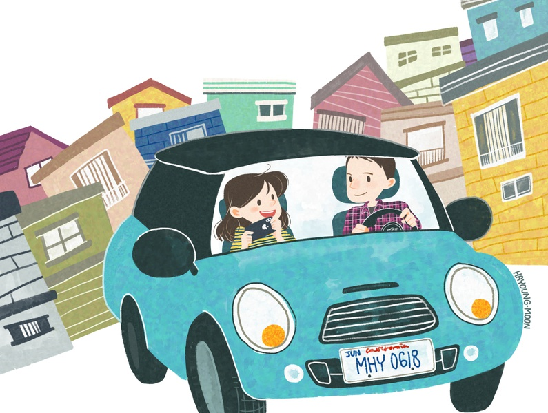 In Daly City, California caricature driving minicooper date couple man girl character illustration design
