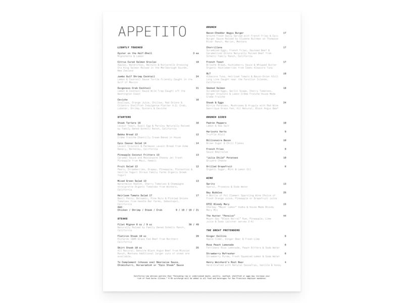 Appetito 01 – Abbott Kinney typography visual design graphic design
