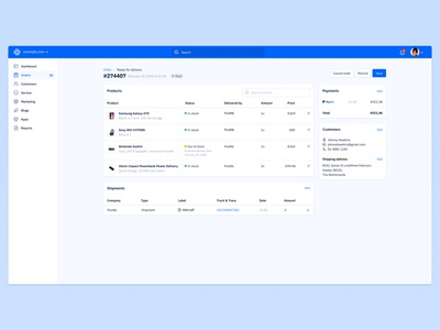 Kristal ecommerce dashboard - order detail page