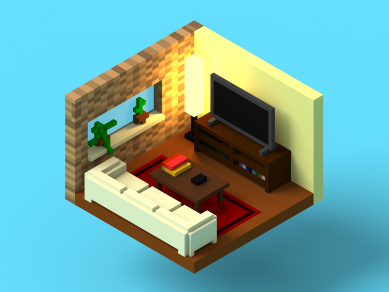 Living room welcome to my living room living room living room render voxel voxel art voxelart magicavoxel magica voxel 3d art 3d model isometric design isometric lighting design 3d render 3d render