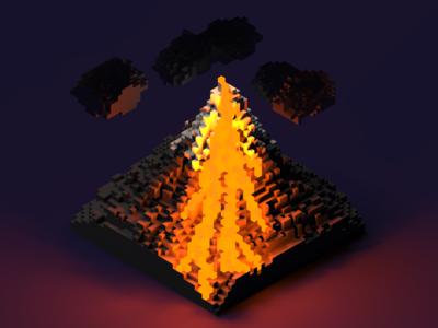 Voxel volcano
