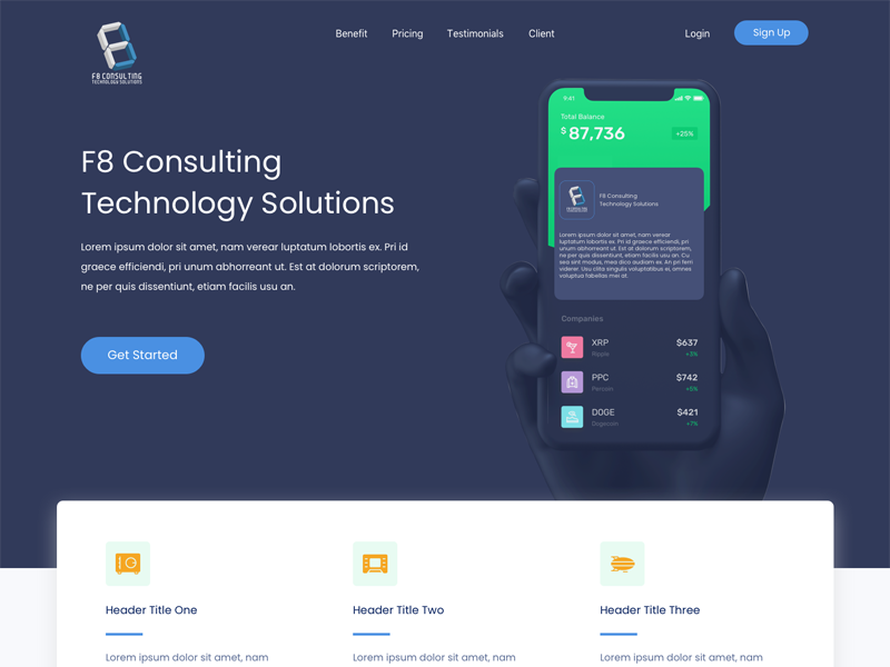 iPhone X home landing page hero technology dark blue sketch bitcoin blue mockup