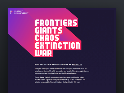 Frontiers, Giants, Chaos, Extinction and War web product design animation gif web design