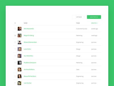 Segment team profiles, team member table ux ui table sort team