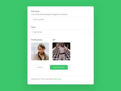 Segment team profiles, edit profile