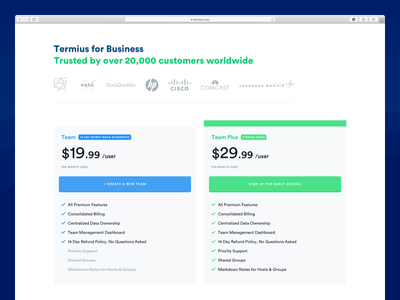 Termius  - Pricing Page and Feature Comparison saas subscription price white light comparison pricing table pricing design web ux ui
