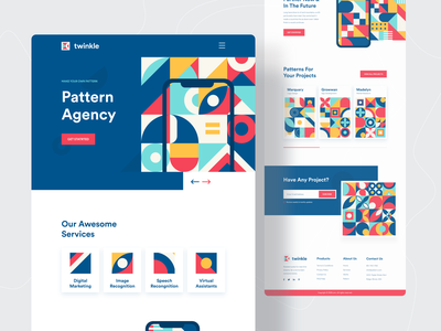 Pattern Agency Landing page V.2 landingpage homepage design ui ux redesign ui  ux design agency web design agency website agency landing page pattern design pattern website design webdesign web design popular shot website concept landing page design trends twinkle dribbble best shot 2020 trend