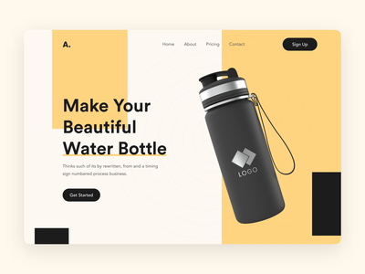 Product Page Header Visual Exploration ui design product product page drink water typrography bottle hero header landing page header exploration redesign header design 2021 trend webdesign website design website concept web design trends popular shot dribbble best shot