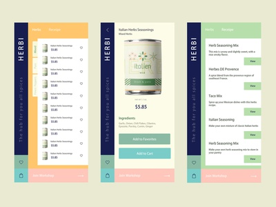 Herbi - The hub for all your spices app ecommerce clean design ux ui rebound