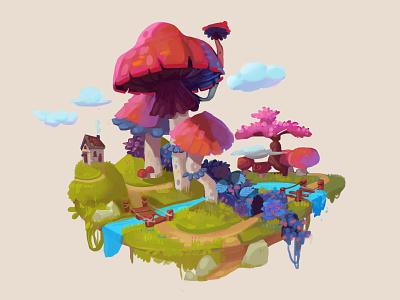 mashrooms illustration fantasy digital painting game art