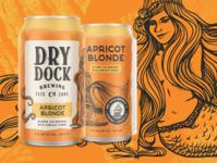 Dry Dock Brewing: Apricot Blonde custom lettering mermaid beer branding nautical illustration brewery beer art beer can