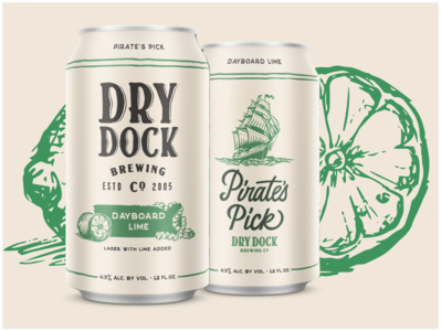 Dry Dock Brewing - Pirate's Pick lime pirate nautical custom lettering illustration can art beer label can design brewery beer