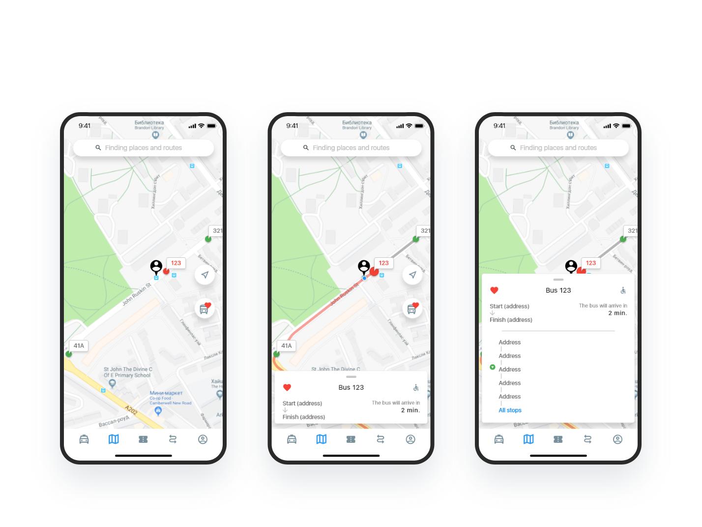 App for tracking buses — freebie freebie free animation kit design xd ui