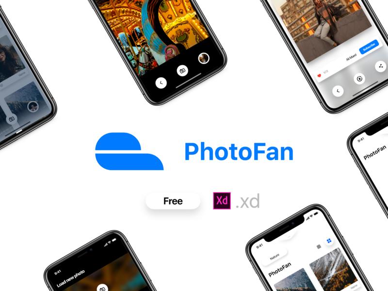PhotoFan — Free concept app branding kit adobe xd freebie ui xd design