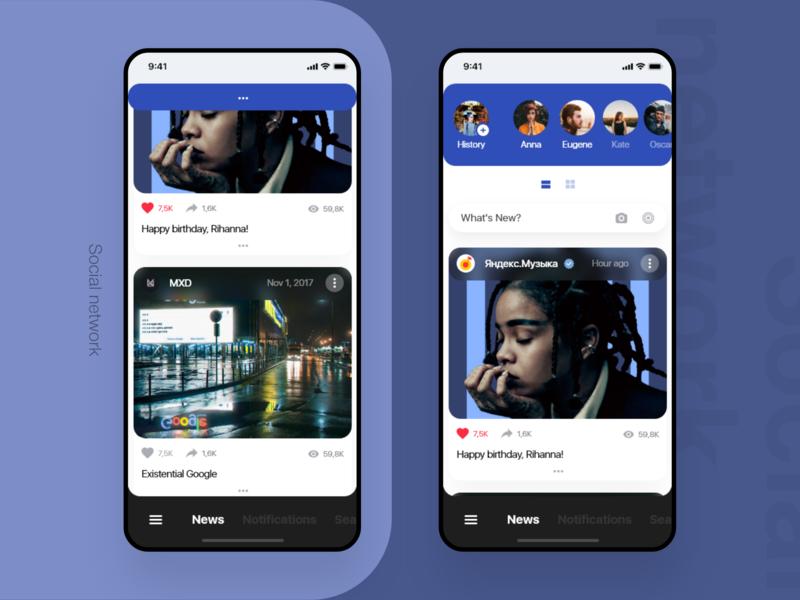 Social network app adobe xd kit ui xd design
