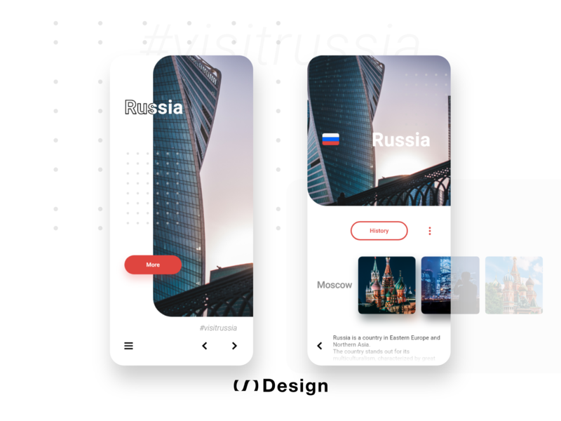 Visit Russia - Mobile app turism app madewithadobexd adobe xd auto animate animation adobe xd logo ui xd design