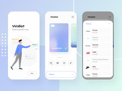 Wallet - Banking app design xd ui adobe xd kit app ux banking bank app mobile mobile ui ios iphone x credit cards minimal illustration branding mobile app