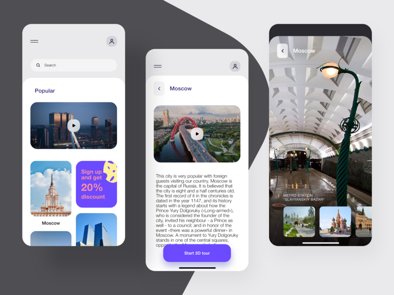 TRVL - AR city tours minimal mobile app design mobile design mobile app mobile app kit adobe xd design