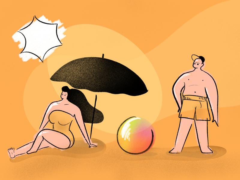 On the beach art illustrations graphic illustration art design vector illustration