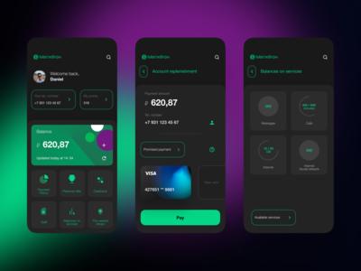 MegaFon - dark theme figmadesign app ui figma mobile app mobile ui mobile
