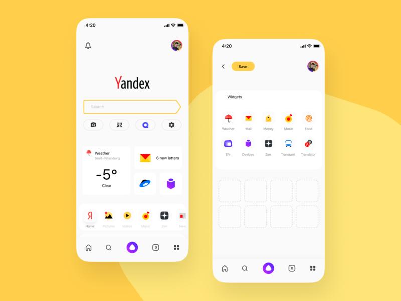 Yandex - widgets figma yandex mobile design mobile mobile app ui design