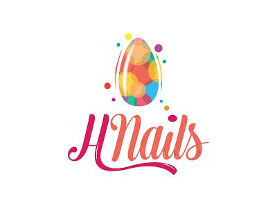 H Nails logo typography calligraphic arabic